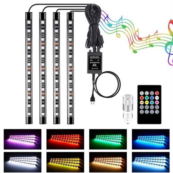 送料無料車 LEDテープライト RGB LEDテープ 音に反応 サウンドセンサー内蔵 フットランプ フルカラー 足下照明 多種フラッシュモード  全8色リモコン付きDDM|vourvoir2