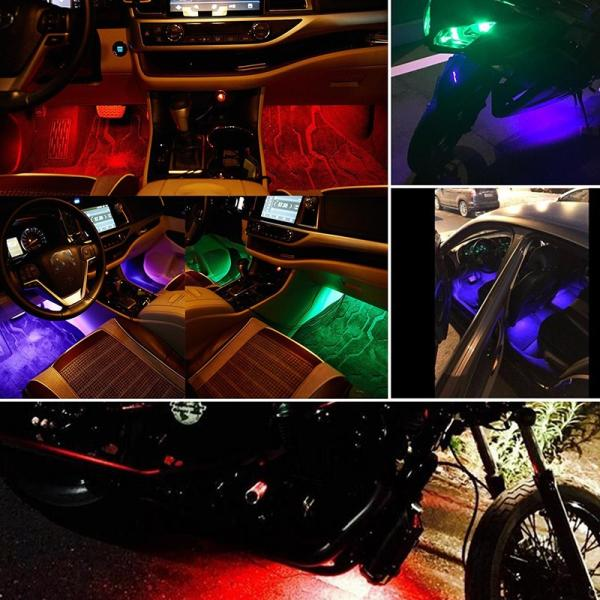 送料無料車 LEDテープライト RGB LEDテープ 音に反応 サウンドセンサー内蔵 フットランプ フルカラー 足下照明 多種フラッシュモード  全8色リモコン付きDDM|vourvoir2|07