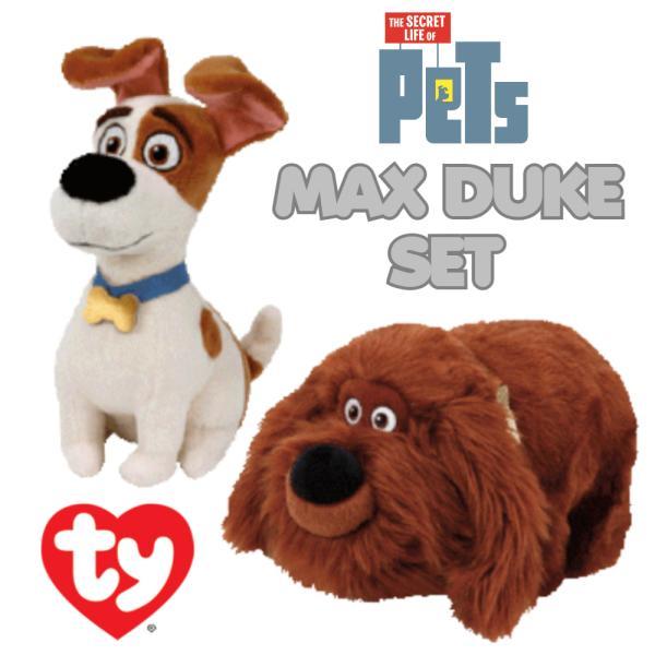 PETS ペット ty Mサイズ ぬいぐるみ マックス デューク 2Pセット マスコット プラッシュ 子供用 キッズ 映画 キャラクター 動物 グッズ