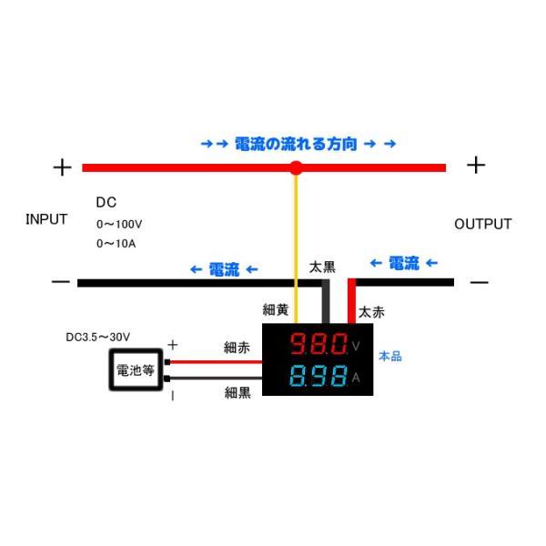 デジタル電圧計&電流計 DC100V 10A (赤V&青A) 特価バルク品|vshopu|04