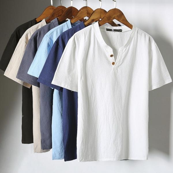 tシャツ メンズ 半袖 夏 vネック トップス 吸汗速乾 無地 ファッション 大きいサイズ 麻繊維 おしゃれ 運動会 文化祭 vsmile
