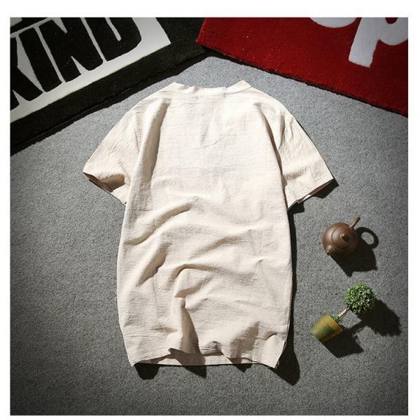 tシャツ メンズ 半袖 夏 vネック トップス 吸汗速乾 無地 ファッション 大きいサイズ 麻繊維 おしゃれ 運動会 文化祭 vsmile 04