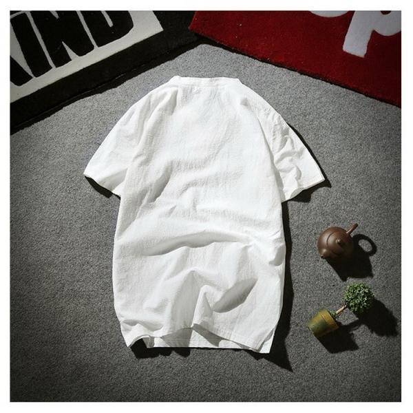 tシャツ メンズ 半袖 夏 vネック トップス 吸汗速乾 無地 ファッション 大きいサイズ 麻繊維 おしゃれ 運動会 文化祭 vsmile 06