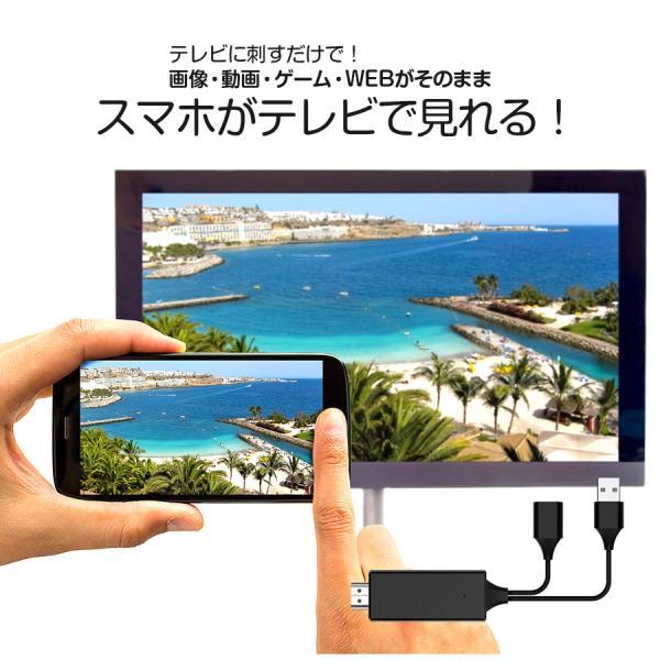 スマホテレビに映すiPhoneケーブル有線ミラーリングケーブル大画面HDMI動画写真画像V-MCS02VRETEXヴァーテックス