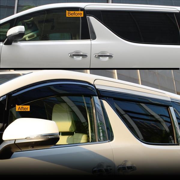 新型 ヴェルファイア アルファード 30系 換気 車用 スモーク ドアバイザー/サイドバイザー モール付 サイドドアウインドウバイザー 取付金具付 4P 後期装着可|vulcans|03