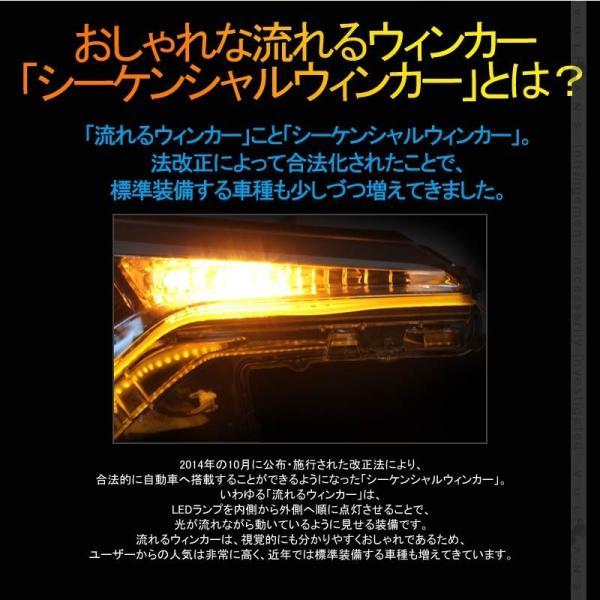 シーケンシャルウインカー LEDテープライト 流れるウインカー 45cm 2本 電流逆流防止機能付 アンバー/ホワイト ツインカラー シリコン カット可 デイライト|vulcans|03