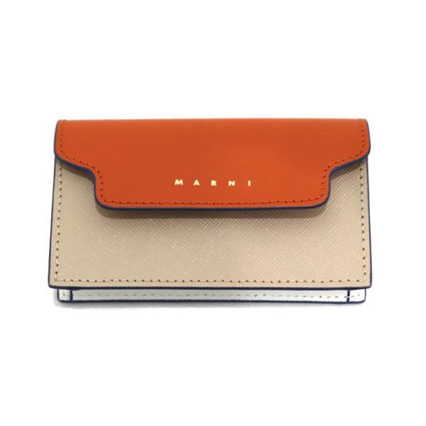 21AW MARNI SAFFIANO LEATHER CARD CASE マルニ 小物 サフィアーノ レザー カード ケース 名刺入れ オレンジ ベージュ PFM0T05U09