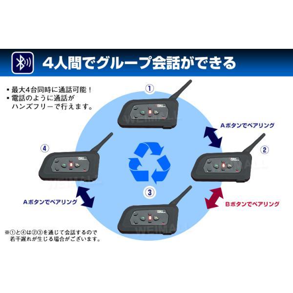 バイクインカム インカム バイク 4人同時通話可能 インターコム Bluetooth 1000m通話可能 4台セット (クーポン配布中)|w-class|03