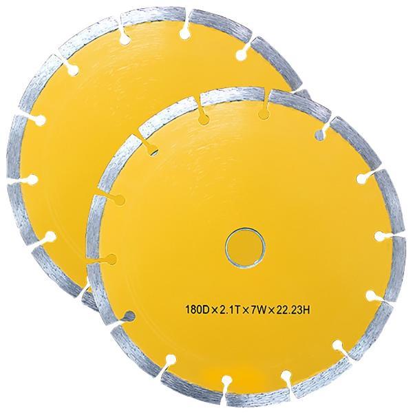 ダイヤモンドカッター 180mm セグメント 乾式 コンクリート ブロック タイル レンガ 切断用 替刃 替え刃 2枚セット