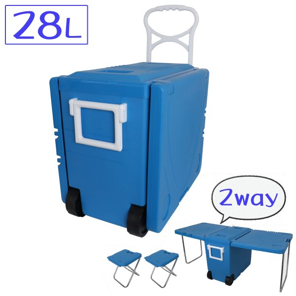 2WAYクーラーボックス キャスター付 折りたたみ アウトドアテーブル チェア クーラーバッグ アウトドア クーラーBOX w-class