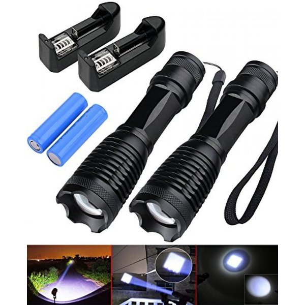 ledsniper 2Pcs Bright LED Tactical 1000LM Flashlight Pocket Size Waterproof 5 Mode Zoomable Led Flashlight