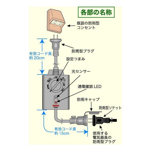 光センサー付タイマーコンセント 防雨 イルミネーション 光センサータイマースイッチ  CDS24|w-yutori|05