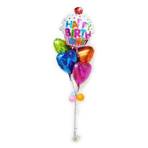 誕生日プレゼント バルーンギフト 誕生日ピンクカップケーキ キャンディ5バルーンセット(200)