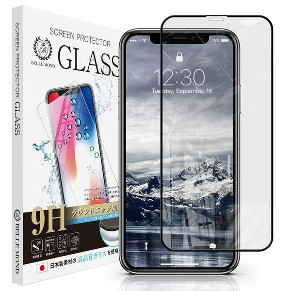 iPhone 11 / iPhone XR 4D ブラックフレーム ガラスフィルム 全面保護 強化ガラス 保護フィルム フィルム 硬度9H 0.3mm iPhone 11/XR 4D CLBK 定形外
