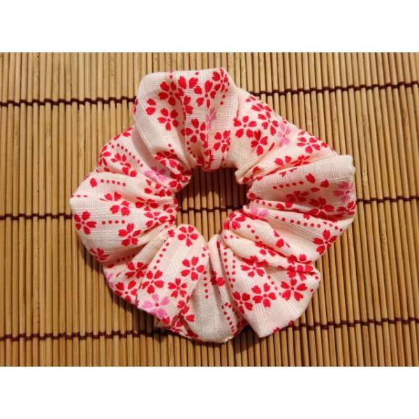 和柄シュシュ 花柄(桜) 白色 約8cm