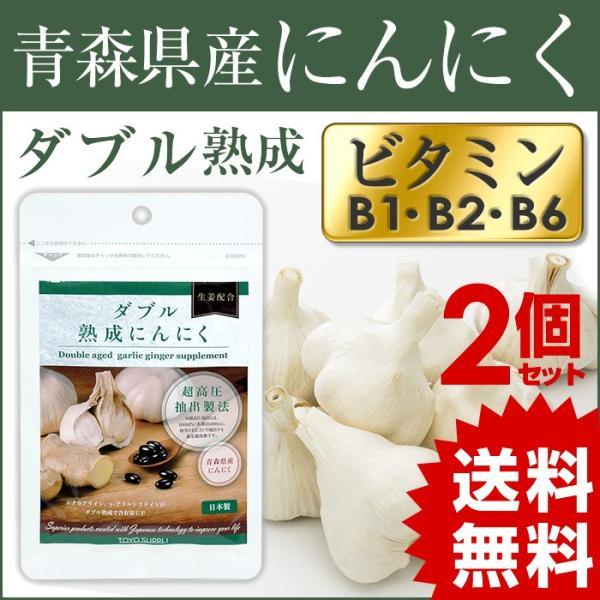 国産にんにくサプリ 2個セット ダブル熟成 にんにく ショウガ配合 東洋サプリ サプリメント 栄養機能食品 ビタミンB1 シクロアリイン 送料無料