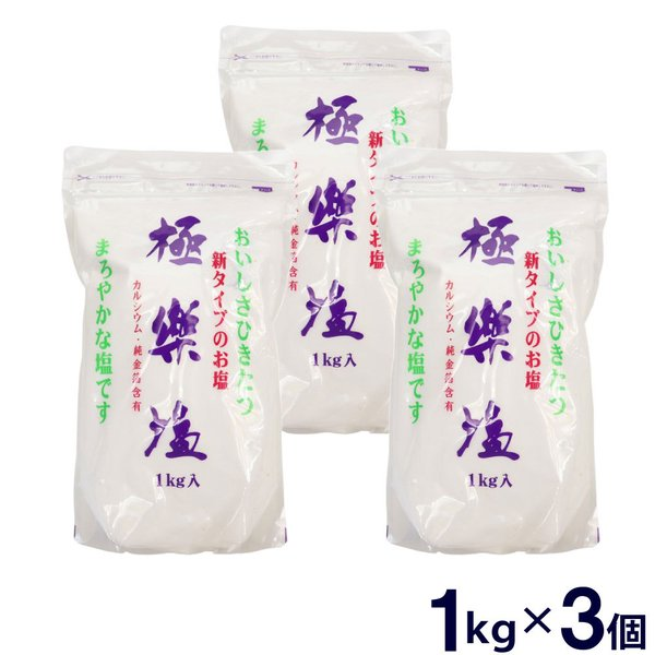 塩 極楽塩 1kg 3個セット