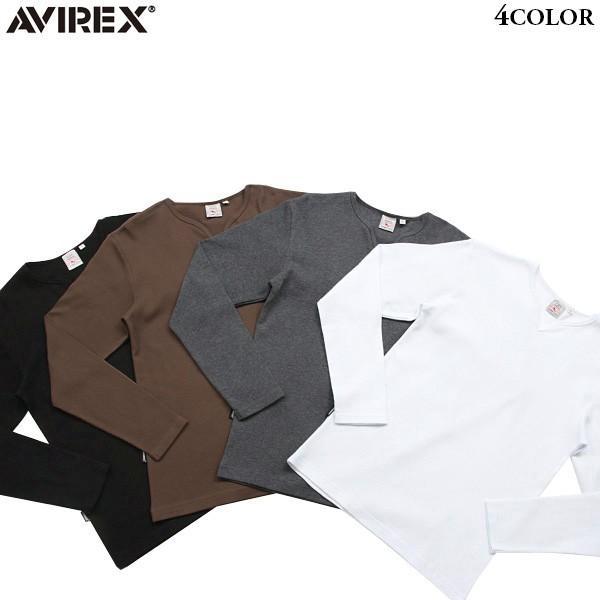 60381fdfdf13 AVIREX アビレックス 長袖 キーネック Tシャツ 6143329 メンズ カットソー インナー 無地 ミリタリー ...