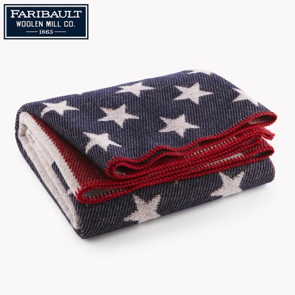 今だけ15%OFF! Faribault Woolen Mills ファリバルトウーレンミルズ 1862 AMERICAN FLAG WOOL THROW ブランケット 毛布 ブランド|waiper
