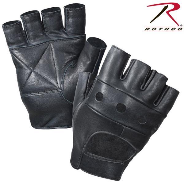 ROTHCO ロスコ ブラック レザー フィンガレス バイカー グローブ メンズ ミリタリーグローブ 手袋 バイク ツーリング ブランド 【3498】【T】
