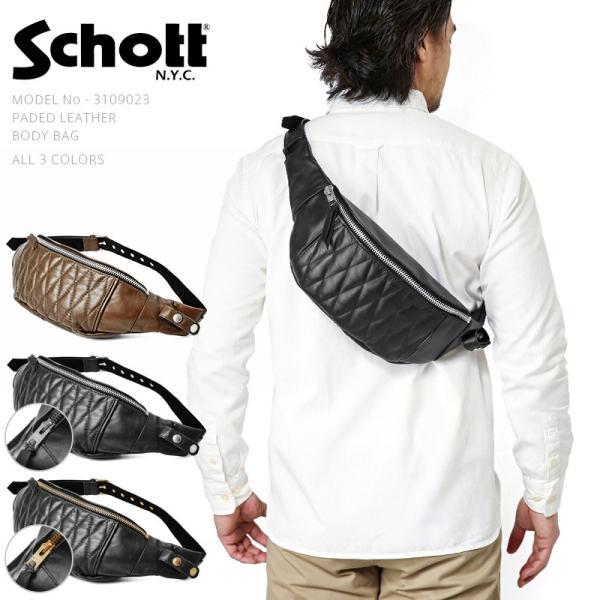 d1f5a41b2130 Schott ショット パデッドレザーボディバッグ メンズ ボディバッグ ショルダーバッグ 本革 カウハイド アメカジ ...