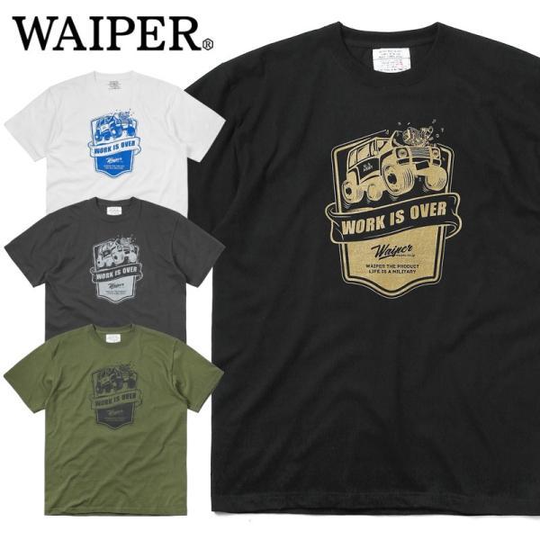 WAIPER.inc 1920007 S/S プリント Tシャツ WORK IS OVER ミリタリー メンズ レディース カットソー 半袖 インナー 車 ブランド メーカー【Sx】 waiper