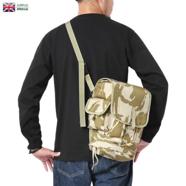 実物USEDイギリス軍2WAYガスマスクショルダーバッグデザートDPMカモメンズミリタリーバッグウエストバッグ迷彩カモ柄軍物 ク