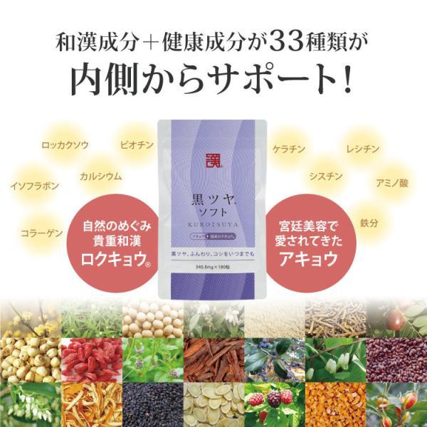 「黒ツヤソフト」約1ヵ月分 和漢アキョウ配合サプリメント 完全無添加 日本製 ケラチン シスチン【メール便】|wakan-medica|04