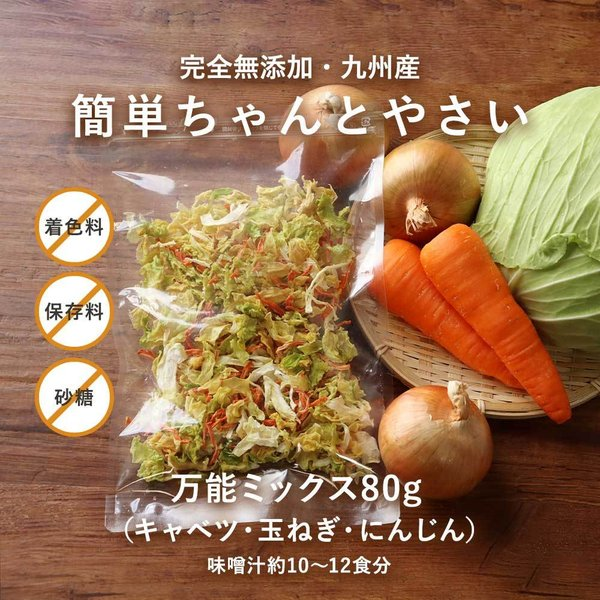 乾燥野菜 80g 九州産 完全無添加 簡単ちゃんとやさい キャベツ にんじん 玉ねぎ メール便A TSG TS30 賞味期限A