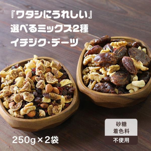 2種から選べる いちじく&デーツミックス 250g×2袋 計500g ミックスナッツ 訳あり食品 わけあり スーパーフルーツ ドライフルーツ メール便A TSG TS30