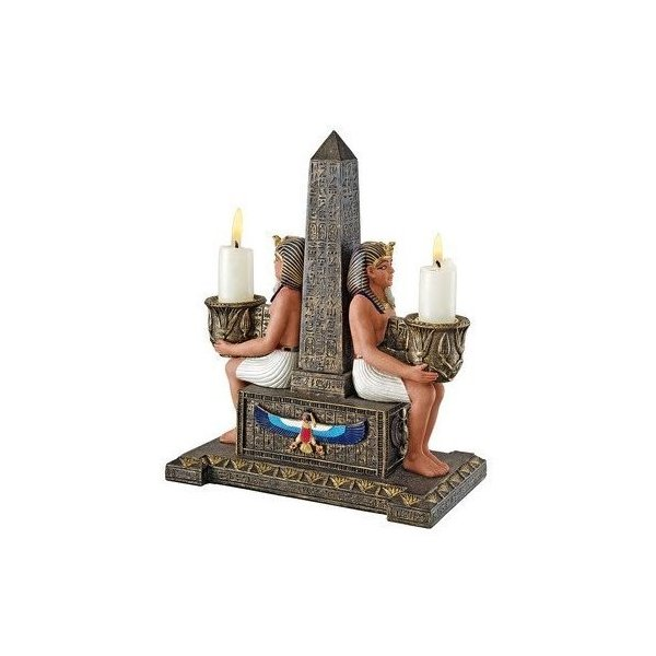 Design Toscano Temple Obelisk Double Candle Holder