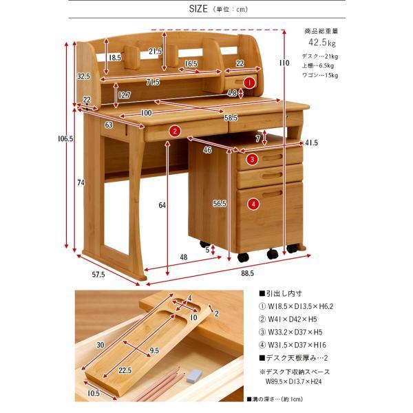 国産/完成品/アルダー材無垢材 学習机 勉強机 学習デスク システムデスク コンパクト 幅100cm Plukke(プルッケ) 2タイプ対応 杉工場 wakuwaku-land 02