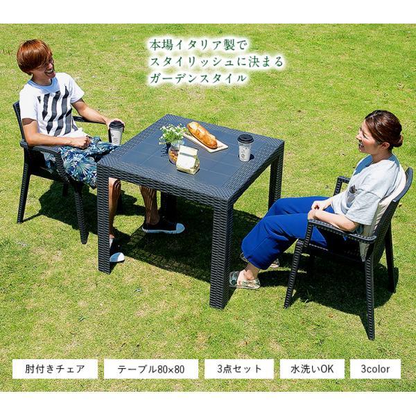 ガーデンテーブルセット ガーデンテーブル3点セット ガーデンテーブル ガーデンチェア 3点セット STERA(ステラ) 肘掛け有 3色対応|wakuwaku-land|05