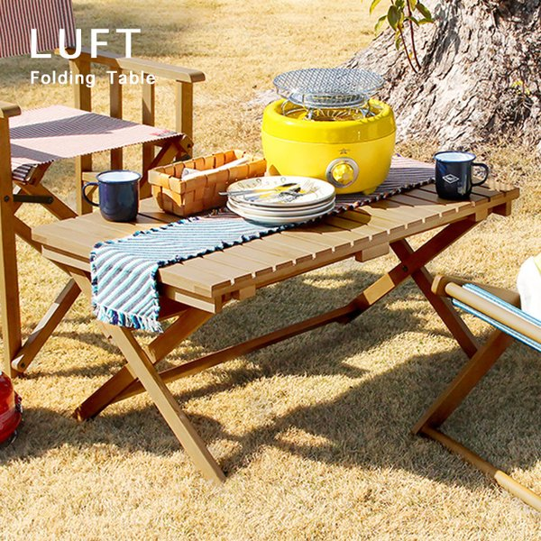 完成品/高さ調整可能 ガーデンテーブル レジャー ガーデンファニチャー 折りたたみ カフェ 庭 テラス 屋外 LUFT(ルフト) 折りたたみテーブル 90x50cm LUT-3383
