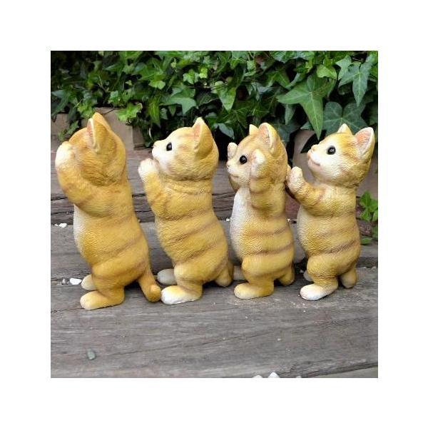 猫の置物 茶トラの子猫 かくれんぼう4品セット G3558596061 キャット ガーデンオブジェ CAT 動物 オーナメント ネコ 雑貨 ガーデン