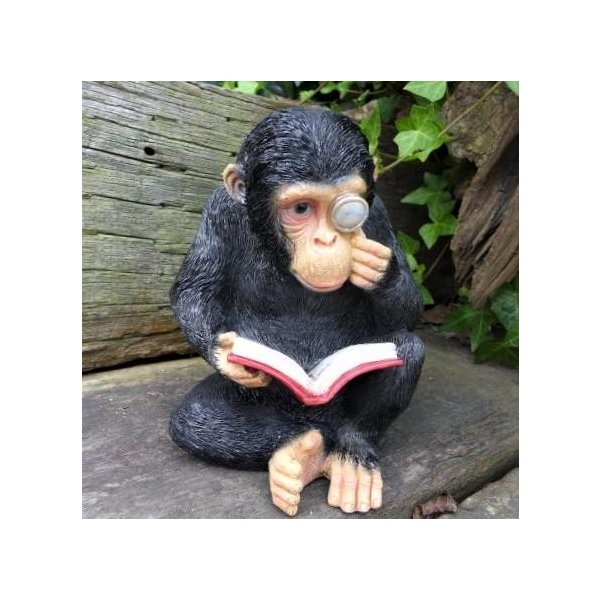 サルの置物 さるの読書 3878-00 猿 オーナメント オーナメント オブジェ ガーデン ガーデニング マスコット 庭 動物 置物 リアル デスプレ