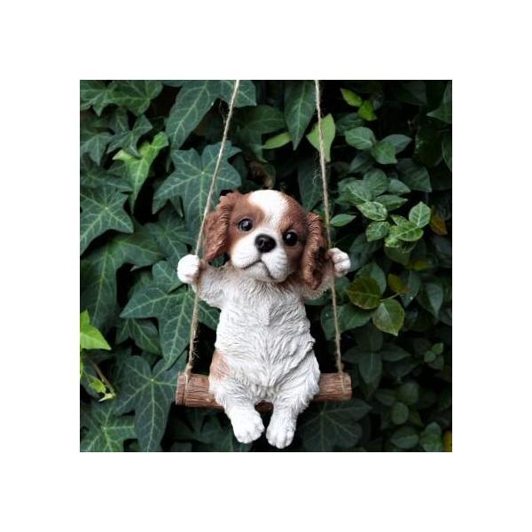 犬の置物 エンジョイブランコ キャバリア 134QY いぬ イヌ 動物  オーナメント ガーデン オブジェ 庭 雑貨 ガーデニング インテリア 雑貨