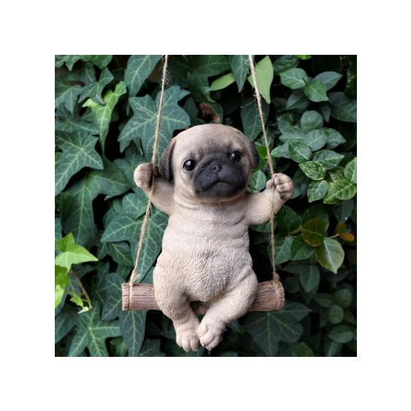 犬の置物 エンジョイブランコ パグ 135QY いぬ イヌ 動物  オーナメント ガーデン オブジェ 庭 雑貨 ガーデニング インテリア 雑貨 マスコ