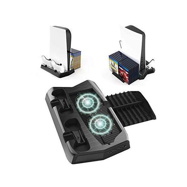 PS5縦置きスタンド冷却ファン付コントローラ充電ステーション2台同時充電収納ラッククーラースタンドアクセサリーPS5