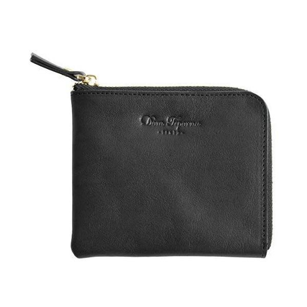 DomTepornaItaly L字ファスナー薄型小さい財布本革イタリアンレザー財布大容量メンズレディースブラック