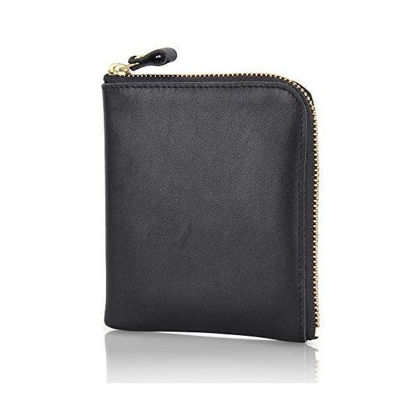 財布本革小銭入れメンズYKK製L字ファスナーコインケースミニ財布レディース(ブラック)