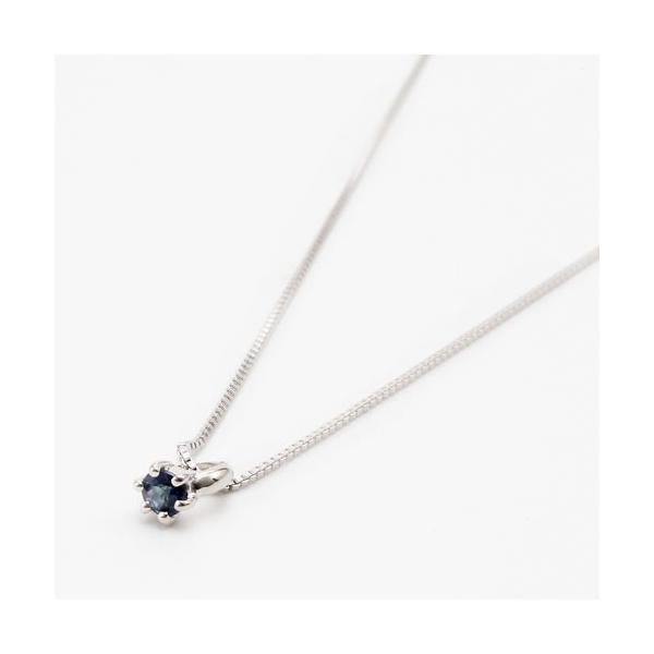 10金 ホワイトゴールド ネックレス ベビーリング 指輪 ペンダント 天然石 サファイア 9月 誕生石
