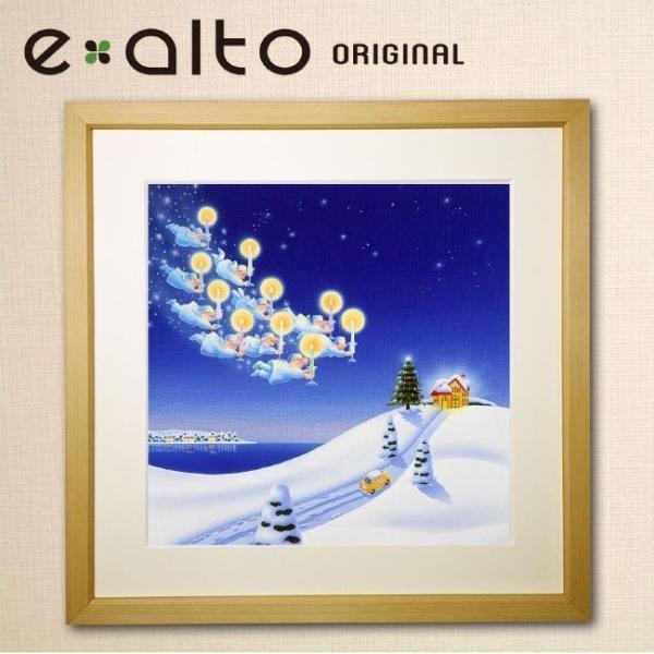 【冬の風景画-クリスマス-雪-妖精 アートパネル】壁掛け ファブリックパネル 絵画