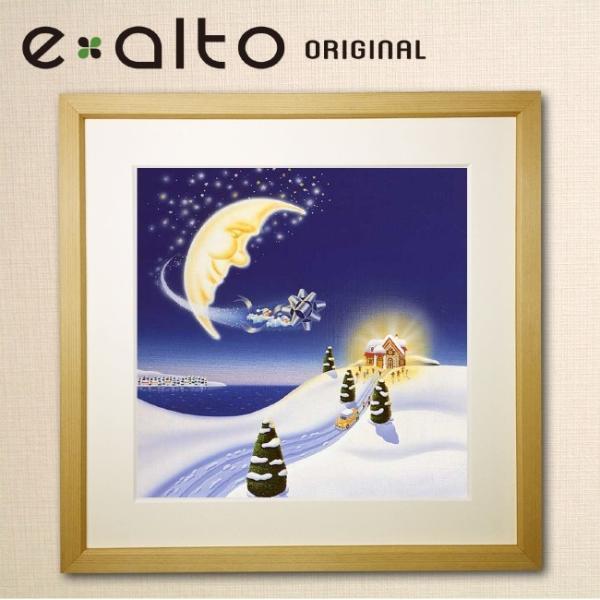 【冬の風景画-クリスマス-雪-月 アートパネル】壁掛け ファブリックパネル 絵画