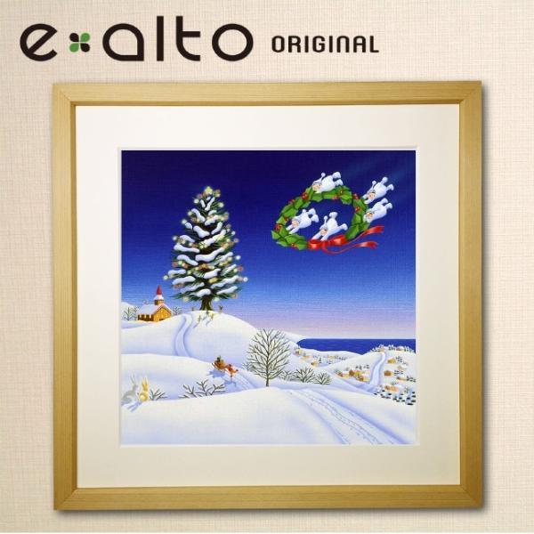 【冬の風景画-クリスマス-雪 アートパネル】壁掛け ファブリックパネル 絵画