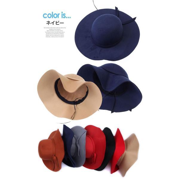 ハット つば広 リボン 女優帽 全7色 つば広 ウール リボン 中折れ ハット 女優帽キャップ レディース おしゃれ 日よけ帽子 日よけキャップ|wallstickershop|05