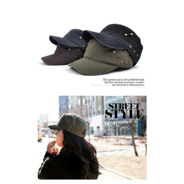 キャップ レディース メンズ 帽子 ワークキャップ 夏 ミリタリーキャップ 星 スタッズ コットン 無地|wallstickershop|05