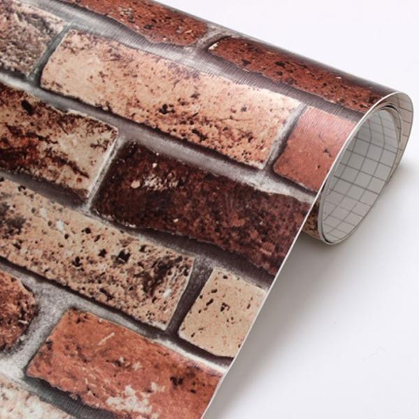 壁紙シール レンガ 壁紙 シール のり付き 壁紙の上から貼れる壁紙 貼ってはがせる おしゃれ DIY ブリック (壁紙 張り替え) サンプル y3|wallstickershop|04