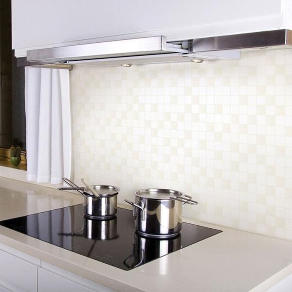 壁紙 シール のり付き おしゃれ シールタイプ キッチン タイル ホワイト 厚手 貼ってはがせる (壁紙 張り替え) 壁紙の上から貼れる壁紙 サンプル y3|wallstickershop|05