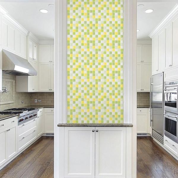 壁紙 シール のり付き おしゃれ キッチン タイル イエローグリーン 厚手 貼ってはがせる (壁紙 張り替え) 壁紙の上から貼れる壁紙 サンプル y3|wallstickershop|05